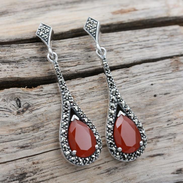 Boucles d'oreilles d'exception en argent et pierre cornaline
