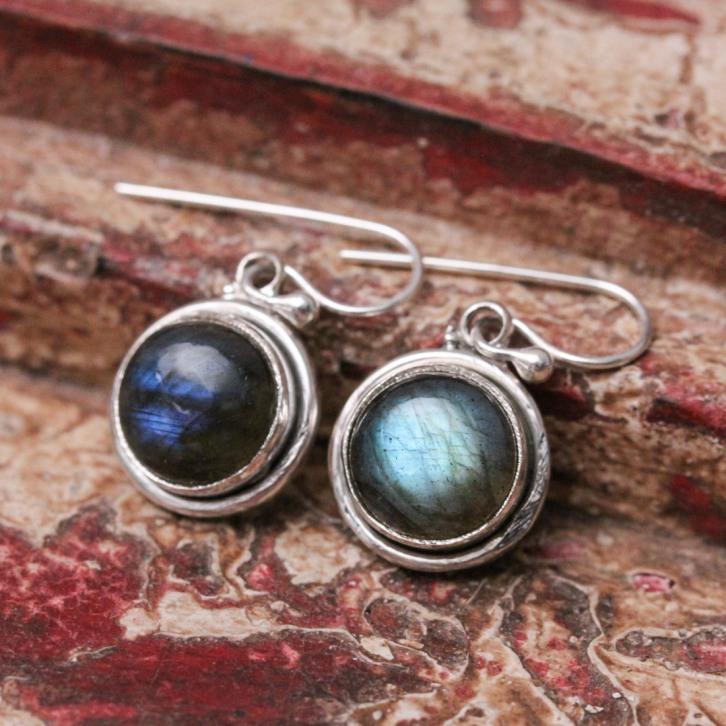 Boucles d'oreilles en argent et pierre labradorite