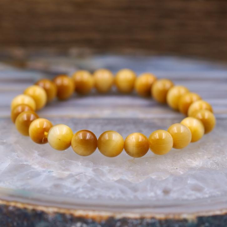 Bracelet pierre oeil de tigre doré