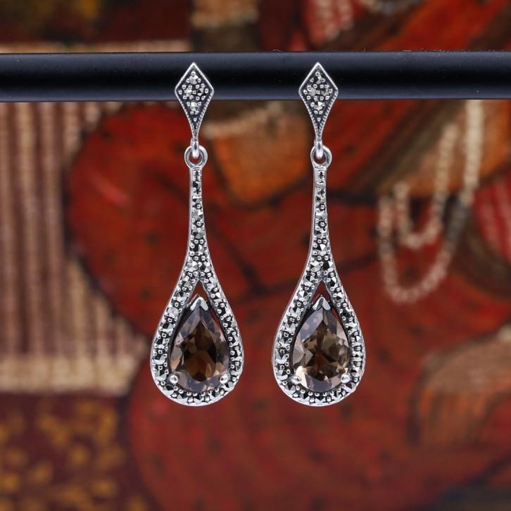 Boucles d'oreilles d'exception en argent et pierre quartz fumé