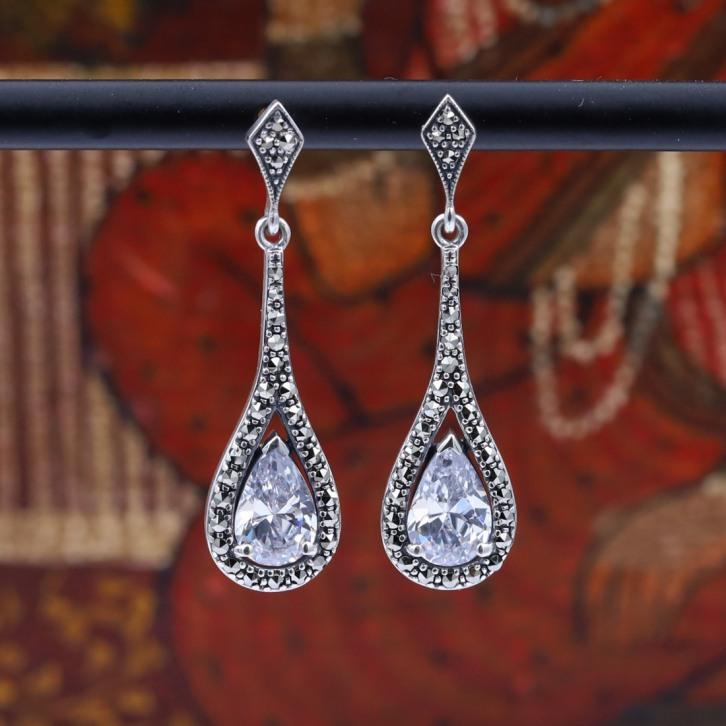 Boucles d'oreilles d'exception en argent et pierre zirconium